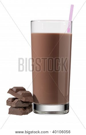 Glass Of Chocolate Drink With Straw