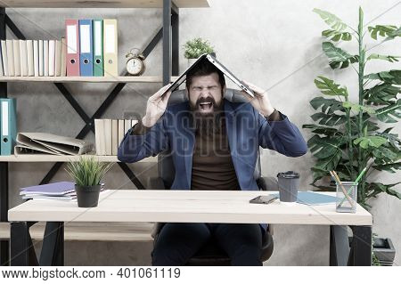 Control Anger Before It Controls You. Businessman Shout Holding Laptop On Head. Anger Management. Ma