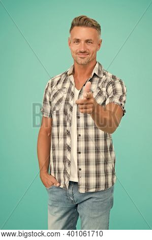 Hello You. Happy Guy Pointing Straight Blue Background. Ad Man. Pointing Index Finger. Gesture And G