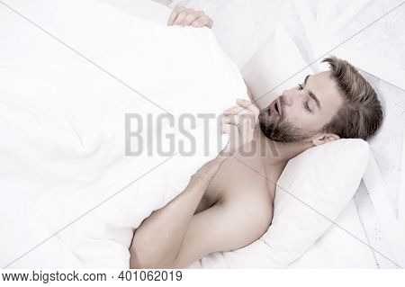 Man Looking Under Blanket. Morning Wood Formally Known Nocturnal Penile Tumescence Common Occurrence