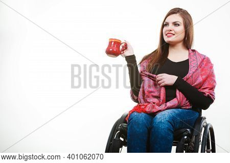 Disability Drink Relax Leisure Concept. Cheerful Crippled Lady On Wheelchair. Smiling Disabled Girl