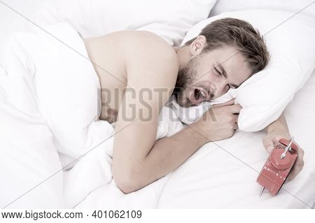 Male Health And Bachelor Lifestyle. Man Fast Sleep. Relaxing In Bedroom. Energy And Tiredness. Sexy