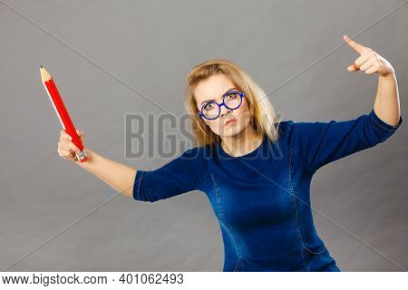 Angry Mad Woman Blonde Student Girl Or Female Teacher, Stressed Business Worker Releasing Tension By