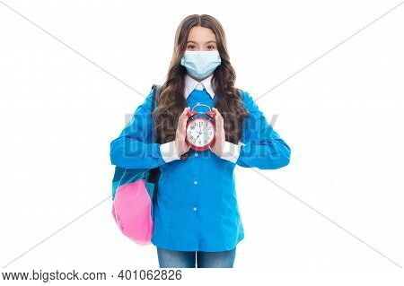 School Schedule During Covid-19. Child In Face Mask Hold Clock. Adapted Schedule. Learning During Co