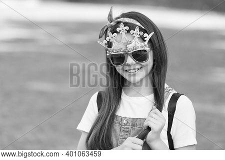 Live Like You Dream. Happy Girl Wear Prop Crown And Glasses. Little Miss Beauty. Child Beauty Pagean