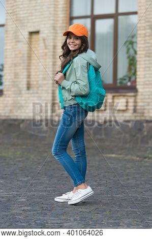 Clothes Are The Spirit Of Fashion. Fashion Look Of Little Child. Small Kid Carry Backpack. Wearing C