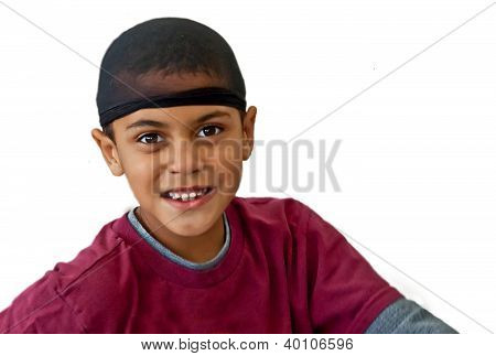9 Year Old Bi-racial Boy Wearing Hair Net Isolated On White