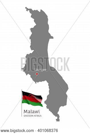 Silhouette Of Malawi Country Map. Gray Detailed Editable Map With Waving National Flag And Lilongwe
