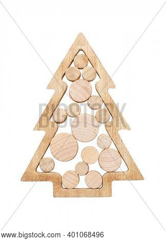 Christmas tree made of wood isolated on white background, including clipping path