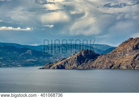 Scenery View Of Rocky Mountain Over The Lake In British Columbia.