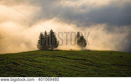 Cloud Inversion At Stauberen Hoher Kasten Alpstein Mountain Range Appenzell Sankt Gallen In Switzerl