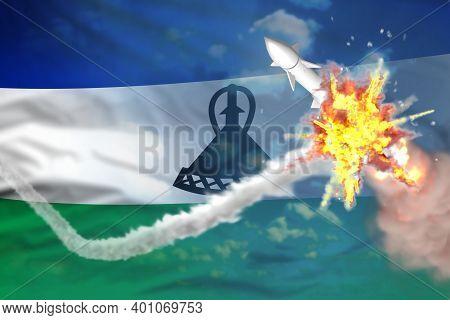 Strategic Rocket Destroyed In Air, Lesotho Nuclear Missile Protection Concept - Missile Defense Mili