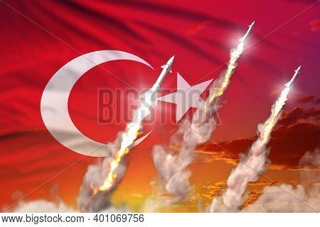 Turkey Ballistic Missile Launch - Modern Strategic Nuclear Rocket Weapons Concept On Sunset Backgrou