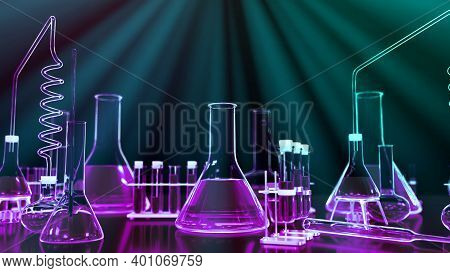 Lab Test-tubes And Other Various Glassware With Light Rays - Science Concept Or Biology Background,