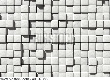 White Masonry Cement Block And Stone Background. Architecture And Abstract Concept. Top View Angle.