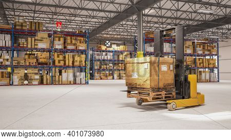 Electric Stacker Hand Pallet Lift Lifting Carton Package For Customer Delivery In Storage Warehouse.