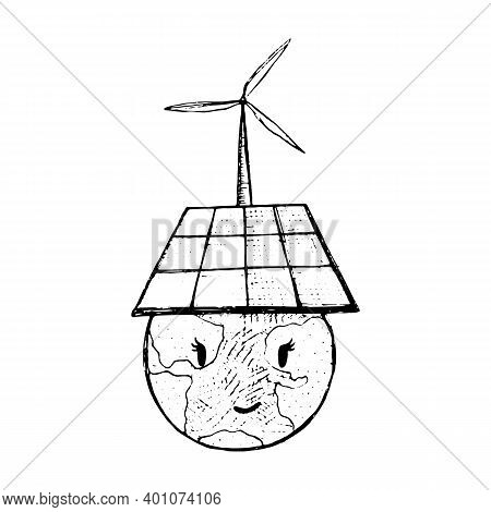 Doodle Humour Drawing With Earth Face And Solar Battary. Nature Friendly Solar Energy. Wind Power Pl