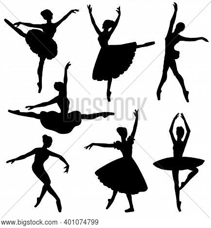 Set Of Dancing Ballerinas Contour Silhouettes Flat Vector Illustration Isolated.