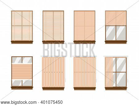Set Of Types Of Window Blinds Or Jalousie, Flat Vector Illustration Isolated.