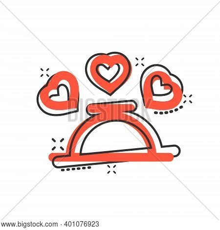 Romantic Dinner Icon In Comic Style. Cafe Cartoon Vector Illustration On White Isolated Background.