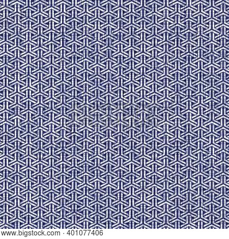 Seamless Indigo Geometric Texture. Navy Blue Woven Geo Shape Cotton Dyed Effect Background. Japanese