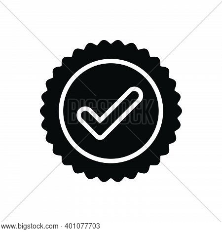 Black Solid Icon For True Tick Ok Correct Right Accurate Veracious Acceptance Approved Confirm Check