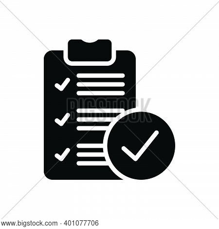 Black Solid Icon For True Document Review Correct Right Accurate Veracious Acceptance Approved Confi