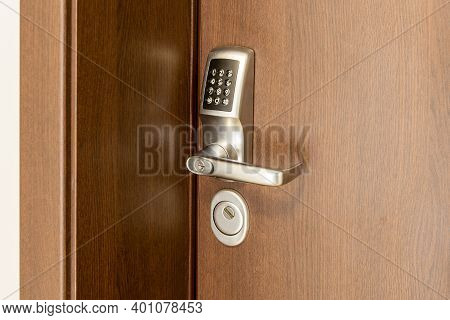 Door Handle With Pass Code Lock. Electronic Door Handle With Key Pads Numbers. Home Security System