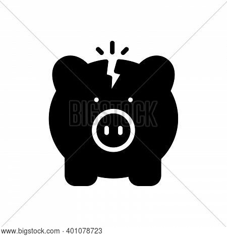 Black Solid Icon For Poverty Indigence Penury Meanness Impoverishment Bankruptcy Piggy Broken Budget