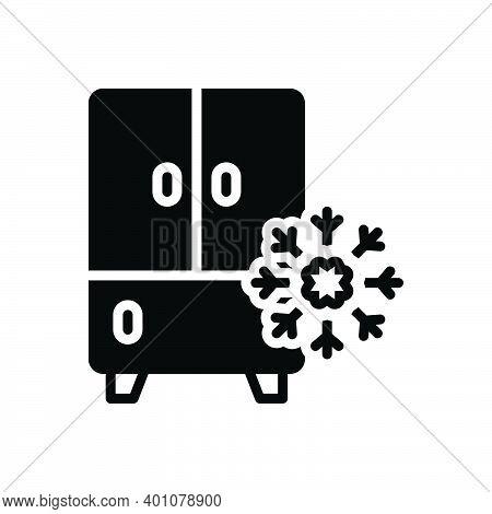 Black Solid Icon For Refrigerator Frost Coolness Freezer Fridge Storage Household Stockpile Storehou