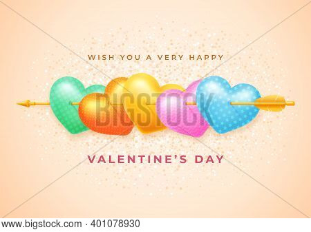 Valentines Day Festive Card. A Few Realistic Multi Colored Hearts, Pierced By Golden Cupid Arrow. Ge