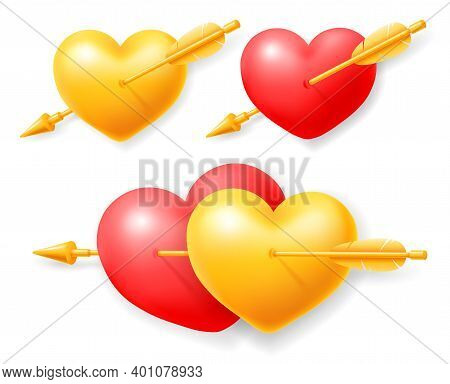 Couple And Single Golden And Red Loving Hearts Pierced By Cupid Arrow. Realistic Design Elements And