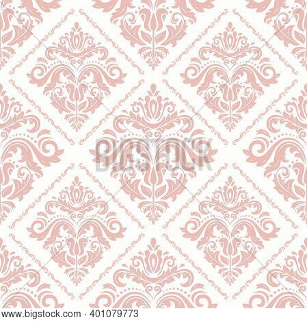Classic Seamless Pattern. Damask Orient Ornament. Classic Vintage Pink Background. Orient Ornament F