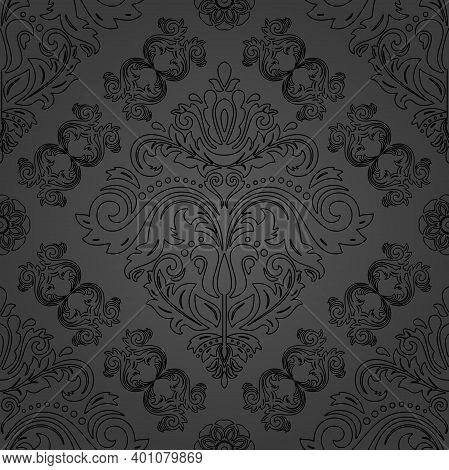 Classic Seamless Pattern. Damask Orient Ornament. Classic Vintage Dark Background. Orient Ornament F