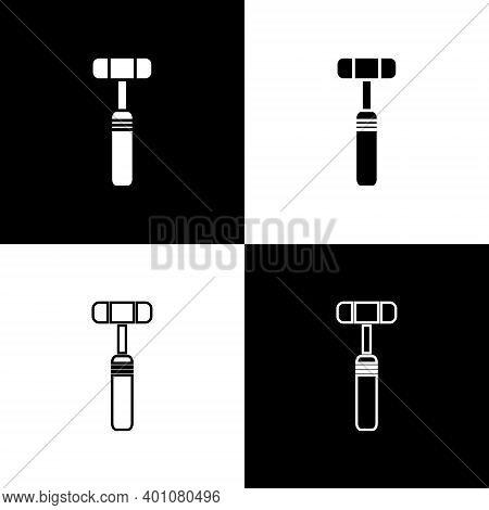 Set Neurology Reflex Hammer Icon Isolated On Black And White Background. Vector Illustration