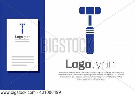 Blue Neurology Reflex Hammer Icon Isolated On White Background. Logo Design Template Element. Vector