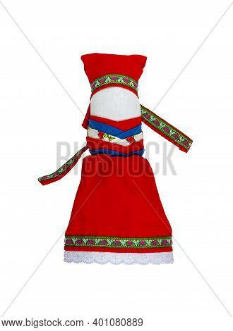 Traditional Russian Fabric Doll. A Doll In A Red Dress And A Red Scarf. Home Amulet And Childrens To