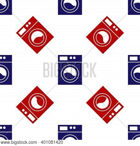Blue And Red Washer Icon Isolated Seamless Pattern On White Background. Washing Machine Icon. Clothe