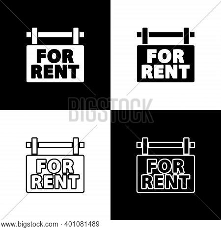 Set Hanging Sign With Text For Rent Icon Isolated On Black And White Background. Signboard With Text
