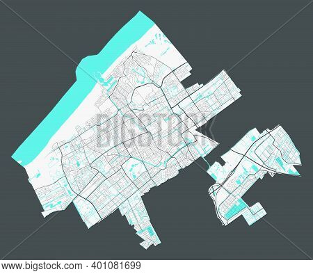 Hague Map. Detailed Map Of Hague City Administrative Area. Cityscape Panorama. Royalty Free Vector I