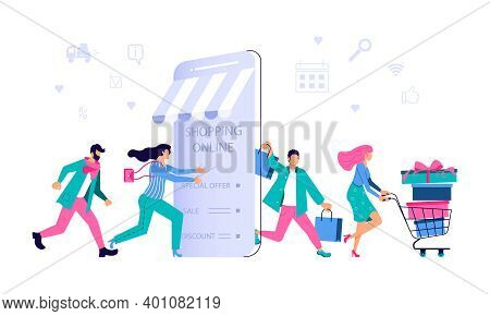 Ecommerce Retail On Device For Customer Application On White Background. People Going For Shopping T