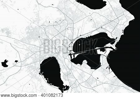 Urban City Map Of Tunis. Vector Illustration, Tunis Map Grayscale Art Poster. Street Map Image With