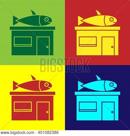 Pop Art Seafood Store Icon Isolated On Color Background. Facade Of Seafood Market. Vector.