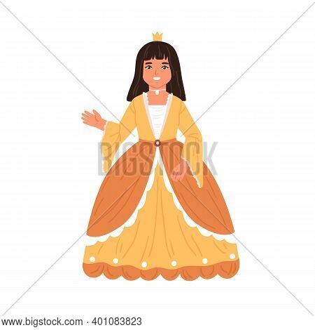 Cute Fairytale Princess Waving Hand. Little Girl Dressed In Poufy Gown Like Queen For Costumed Carni