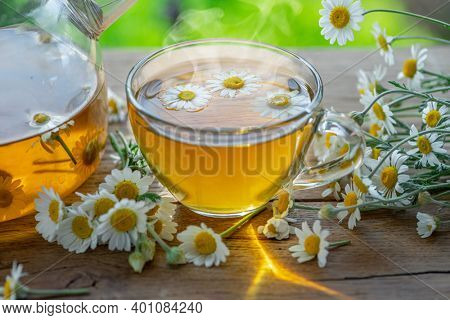 Herbal chamomile tea Chamomile flowers near teapot and tea glass. Rural or countryside background.