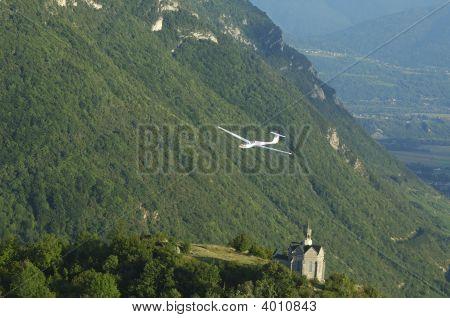 Glider Flying Over St Michel Church