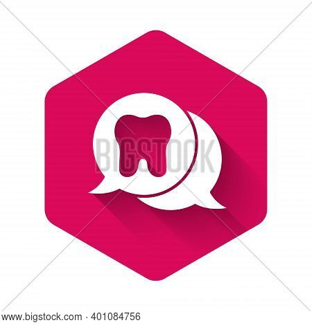 White Tooth Icon Isolated With Long Shadow. Tooth Symbol For Dentistry Clinic Or Dentist Medical Cen
