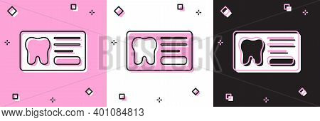 Set Clipboard With Dental Card Or Patient Medical Records Icon Isolated On Pink And White, Black Bac
