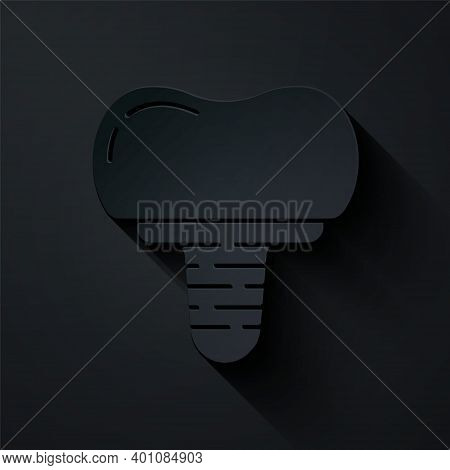 Paper Cut Dental Implant Icon Isolated On Black Background. Paper Art Style. Vector