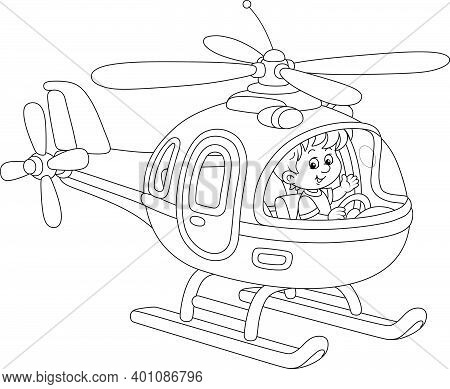 Happy Little Boy Playing And Piloting A Big Toy Helicopter On A Playground, Black And White Outline
